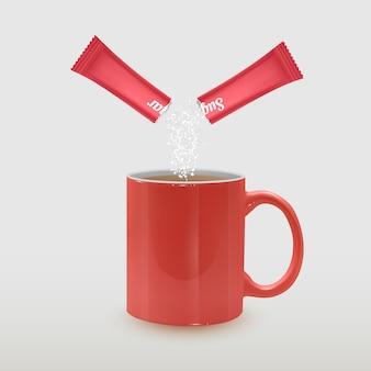 Tasse de thé réaliste et bâton d'emballage avec du sucre