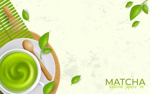 Tasse à thé vert matcha latte avec fond. illustration