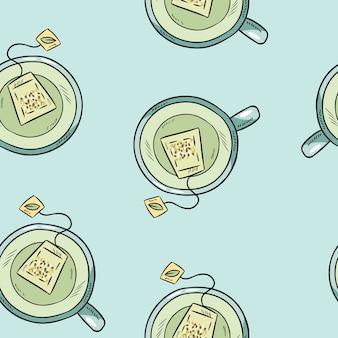 Tasse de thé vert modèle sans couture dessin animé mignon dessinés à la main.