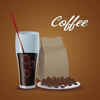 Tasse en verre d'affiche de couleur de café glacé avec le paquet de haricots dans le plat