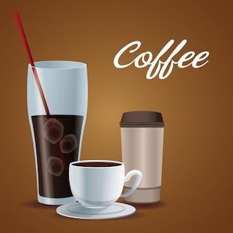 Tasse en verre d'affiche de couleur du café glacé avec la tasse de porcelaine et jetable pour des boissons