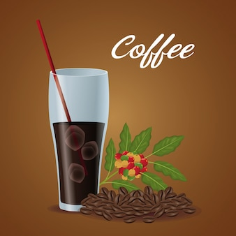 Tasse en verre d'affiche de couleur du café et des haricots glacés