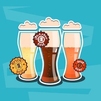 Tasse en verre de bière oktoberfest festival banner flat