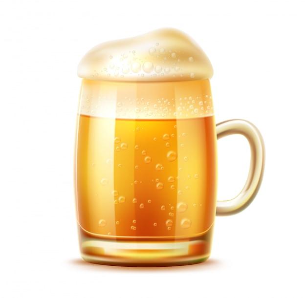 Tasse de verre de bière réaliste de bière blonde