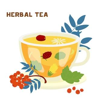 Tasse en verre de tisane avec feuilles de menthe, fruits de rose musquée, camomille.