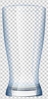 Tasse en verre vide avec fond transparent.
