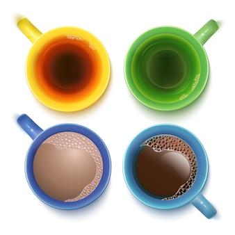 Tasses avec boissons