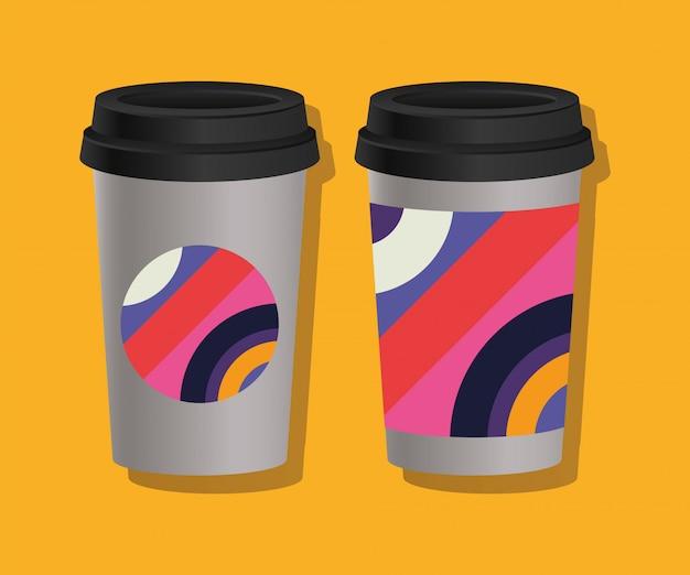 Tasses à café à couverture géométrique