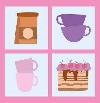Tasses à café et gâteau