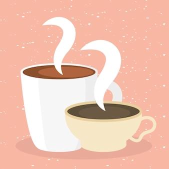 Tasses à café sur illustration rose