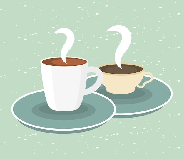 Tasses à café sur illustration verte