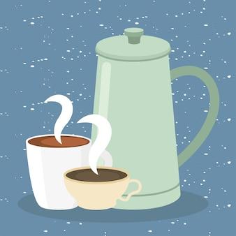 Tasses à café et pot sur illustration bleue