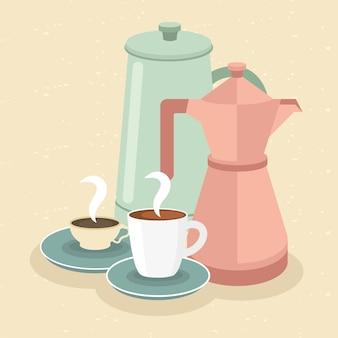 Tasses à café et pots sur illustration jaune