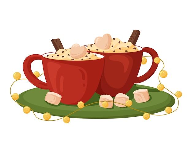 Tasses de café rouge avec des guimauves à la crème et de la cannelle