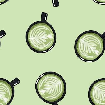 Tasses de café vert. modèle sans couture de tasses dessin animé mignon dessinés à la main.