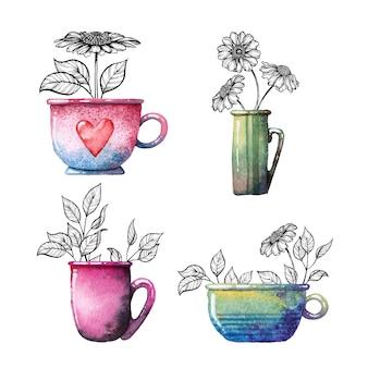 Tasses avec des fleurs.