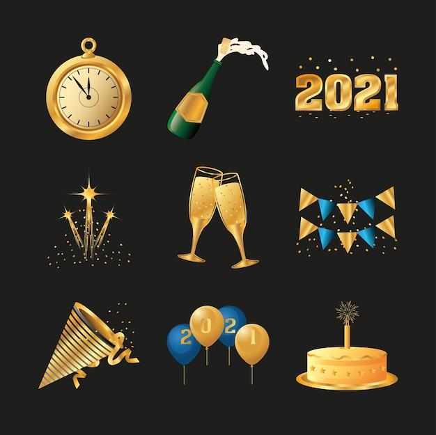 Tasses de gâteau d'horloge d'or de bonne année et illustration d'icônes de champagne