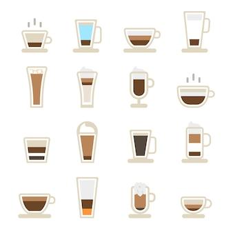 Tasses d'icônes de café