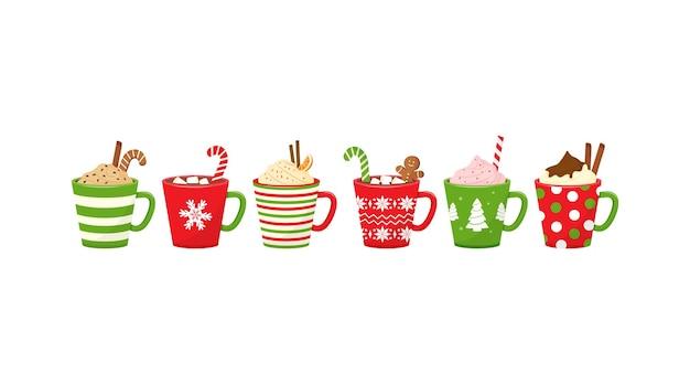 Tasses de noël avec des boissons chocolat chaud vecteur icône de tasse de vacances cacao ou café et crème