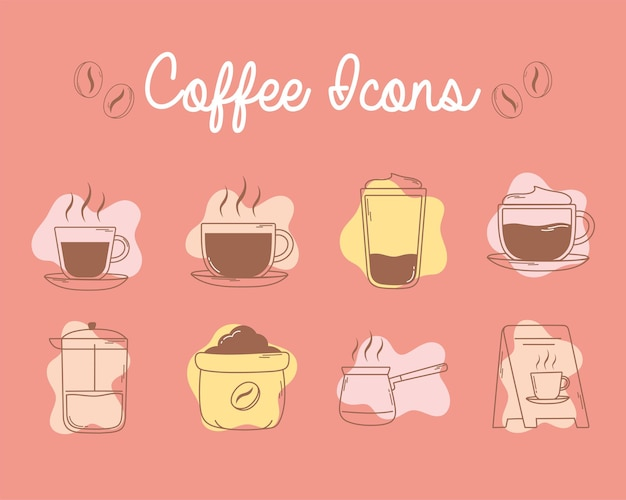 Tasses de presse française de café et ligne d'icônes de conseil et remplissage