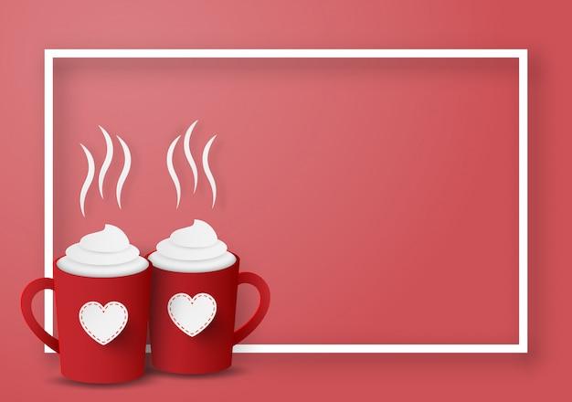 Tasses rouges pour couple avec cadre vide