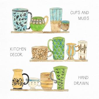 Tasses à thé et à la collection aquarelle aquarelle