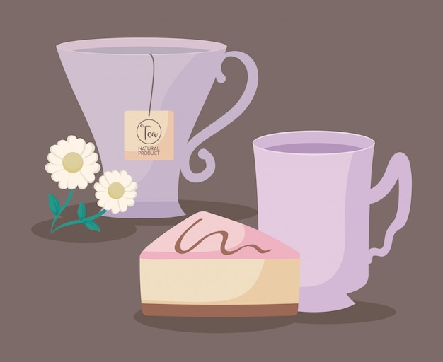 Tasses à Thé Naturelles Avec Tranche De Gâteau Vecteur Premium