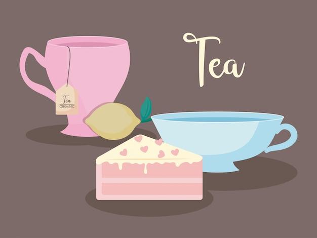 Tasses à thé naturelles avec tranche de gâteau