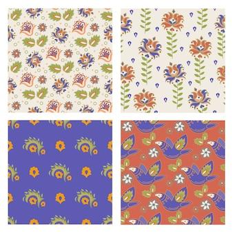 Tatarlar set seamless pattern oriental ornement folk décoratif illustration couleur