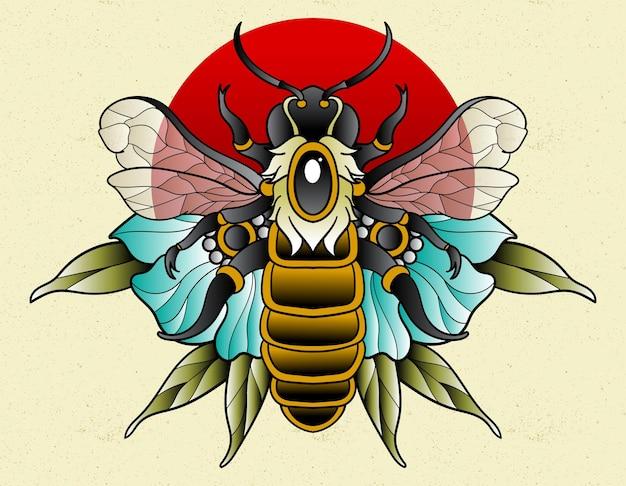 Tatouage d'abeille néo traditionnel