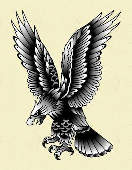 Tatouage d'aigle traditionnel