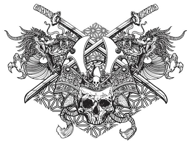 Tatouage art guerrier tête épée japonaise et dragon dessin littérature main dessin croquis