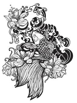 Tatouage art japon poisson design main dessin et croquis noir et blanc