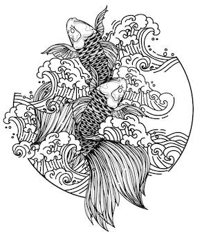 Tatouage art japon poissons conception dessin à la main et croquis noir et blanc