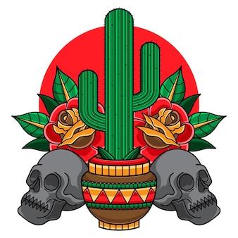 Tatouage de cactus traditionnel