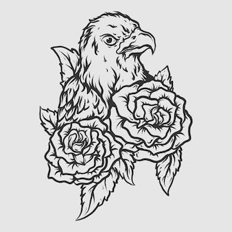 Tatouage et conception de t-shirt aigle dessiné à la main noir et blanc avec rose