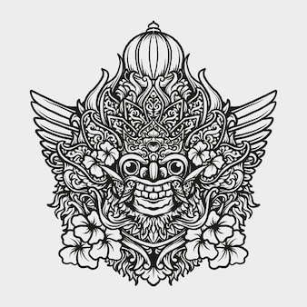 Tatouage et conception de t-shirt balinais barong gravure ornement