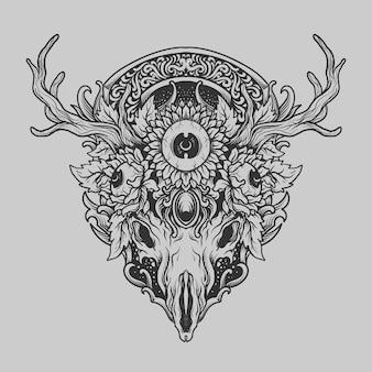 Tatouage et conception de t-shirt crâne de cerf dessiné à la main noir et blanc et ornement de gravure d'oeil de tournesol
