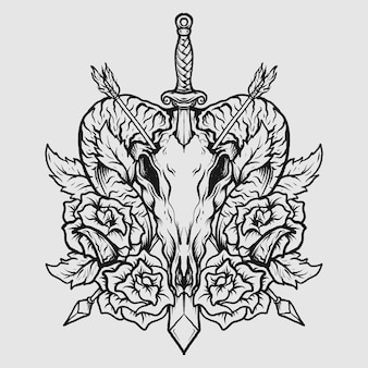 Tatouage et conception de t-shirt crâne de chèvre dessiné à la main noir et blanc et rose avec épée et flèche