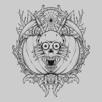 Tatouage et conception de t-shirt crâne dessiné à la main noir et blanc à la citrouille halloween