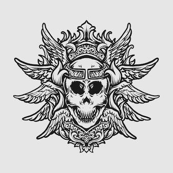 Tatouage et conception de t-shirt crâne dessiné à la main noir et blanc et ornement de gravure d'aile d'ange