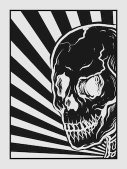 Tatouage et conception de t-shirt crâne dessiné à la main noir et blanc