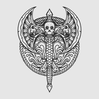 Tatouage et conception de t-shirt crâne de hache dessiné à la main noir et blanc