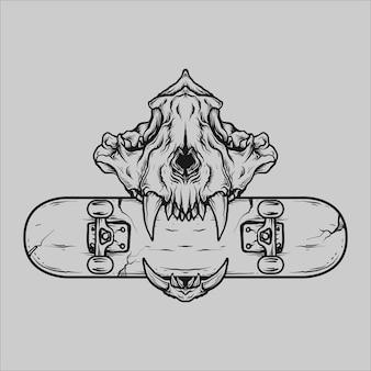 Tatouage et conception de t-shirt crâne de tigre dessiné à la main noir et blanc et planche à roulettes