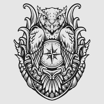 Tatouage et conception de t-shirt hibou dessiné à la main noir et blanc avec ornement de gravure de boussole
