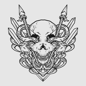 Tatouage et conception de t-shirt illustration dessinée à la main en noir et blanc crâne et serpent avec lance