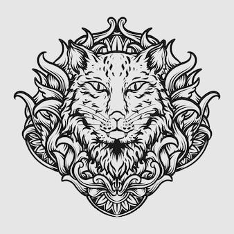 Tatouage et conception de t-shirt illustration dessinée à la main en noir et blanc ornement de gravure de chat
