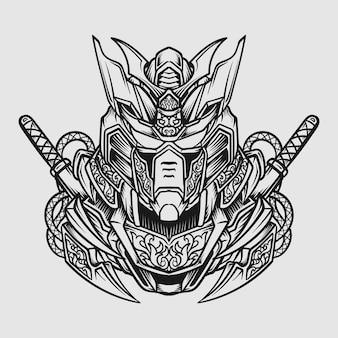 Tatouage et conception de t-shirt illustration dessinée à la main noir et blanc robot mecha gravure ornement