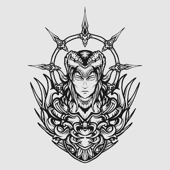 Tatouage et conception de t-shirt noir et blanc dessiné à la main diable reine gravure ornement