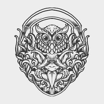 Tatouage et conception de t-shirt noir et blanc dessiné à la main hibou crâne masque gravure ornement